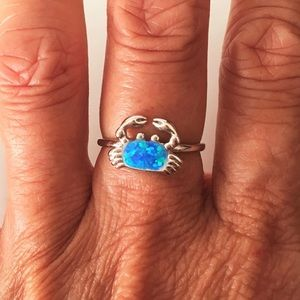 Jewelry - Sterling Silver Blue Lab Opal Crab 🦀 Ring